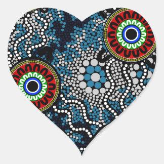 Aboriginal Art - Camping Heart Sticker