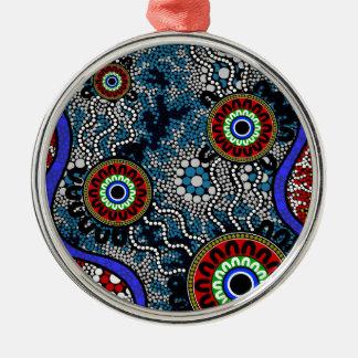 Aboriginal Art - Camping Metal Ornament