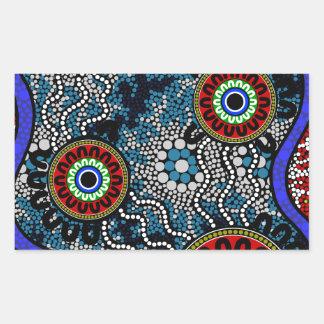 Aboriginal Art - Camping Rectangular Sticker
