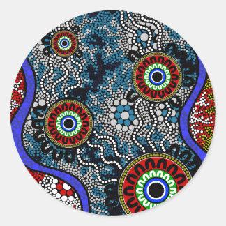 Aboriginal Art - Camping Round Sticker