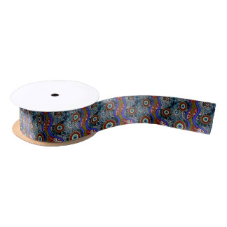 Aboriginal Art - Camping Satin Ribbon