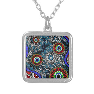 Aboriginal Art - Camping Silver Plated Necklace