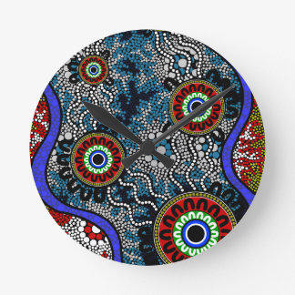 Aboriginal Art - Camping Wallclock