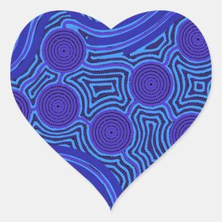 Aboriginal Art - Circles & Lines Heart Sticker