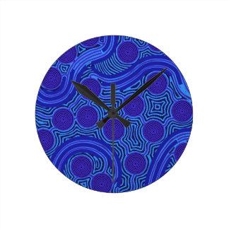 Aboriginal Art - Circles & Lines Round Clock