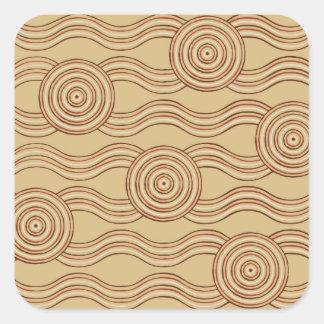 Aboriginal art earth square sticker