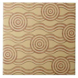 Aboriginal art earth tile