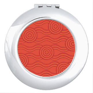 Aboriginal art fire mirror for makeup