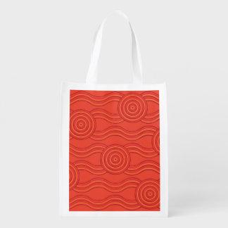 Aboriginal art fire reusable grocery bag