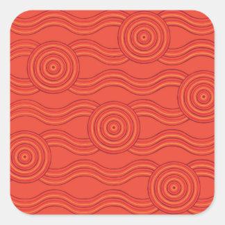 Aboriginal art fire square sticker
