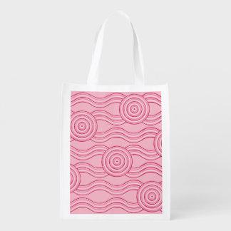 Aboriginal art gumnut blossoms reusable grocery bag