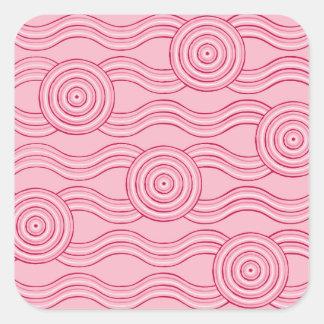 Aboriginal art gumnut blossoms square sticker