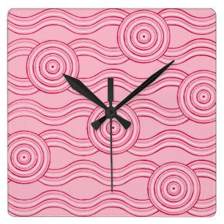 Aboriginal art gumnut blossoms wall clock