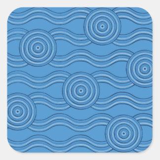 Aboriginal art ocean square sticker