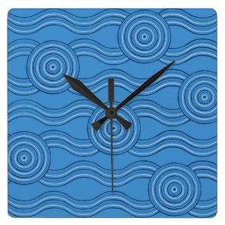 Aboriginal art ocean wall clocks