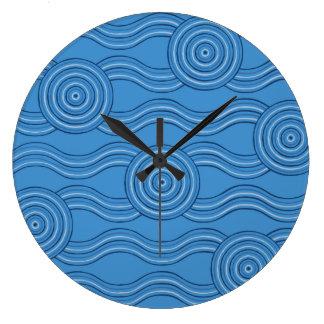 Aboriginal art ocean wallclock