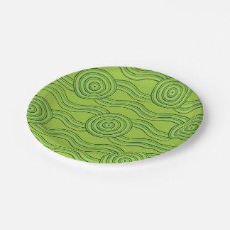 Aboriginal art rainforest 7 inch paper plate