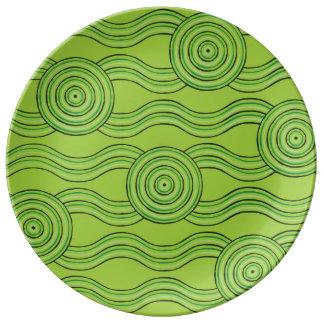 Aboriginal art rainforest porcelain plates