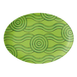 Aboriginal art rainforest porcelain serving platter