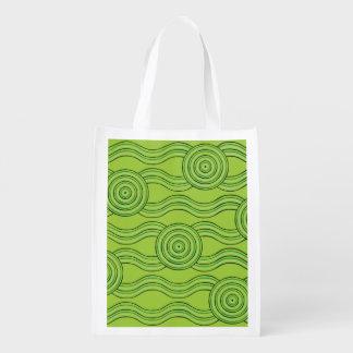 Aboriginal art rainforest reusable grocery bag