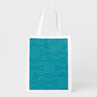 Aboriginal art reef reusable grocery bag