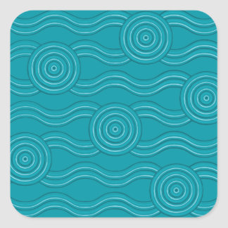 Aboriginal art reef square sticker