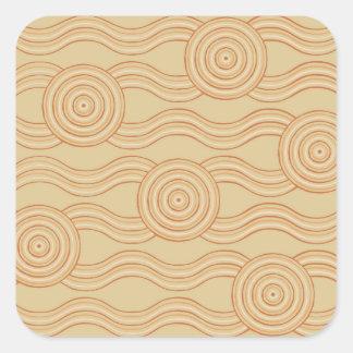 Aboriginal art sandstone square sticker