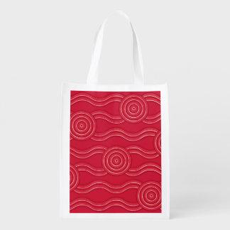 Aboriginal art waratah reusable grocery bag