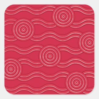 Aboriginal art waratah square sticker