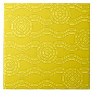 Aboriginal art wattle ceramic tile