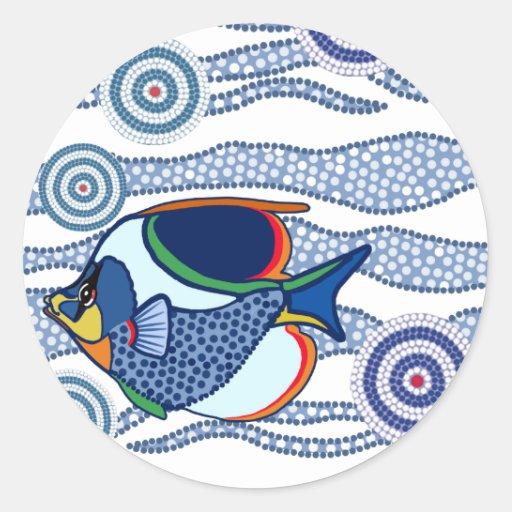 Aboriginal Dot Art Fish-01 Round Sticker
