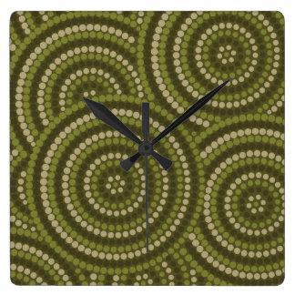 Aboriginal dot painting clock