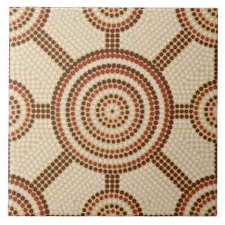 Aboriginal dot painting large square tile