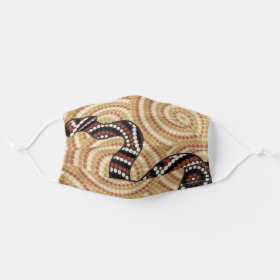 Aboriginal Dot Painting Snake Cloth Face Mask