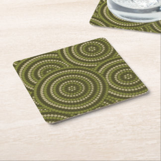 Aboriginal dot painting square paper coaster