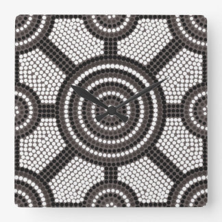 Aboriginal dot painting wall clock
