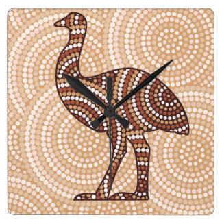 Aboriginal emu dot painting clock