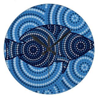 Aboriginal fish dot painting clocks