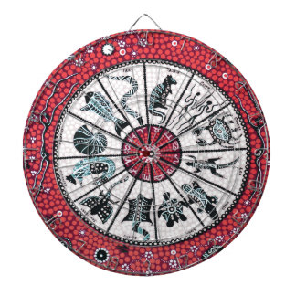 Aboriginal Horoscope Red Dartboard With Darts