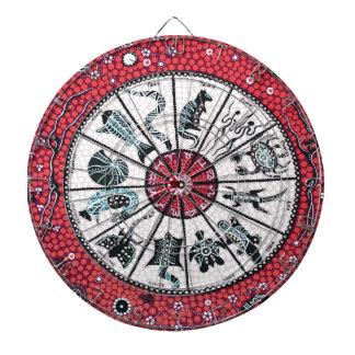 Aboriginal Horoscope Red Dartboard With Darts