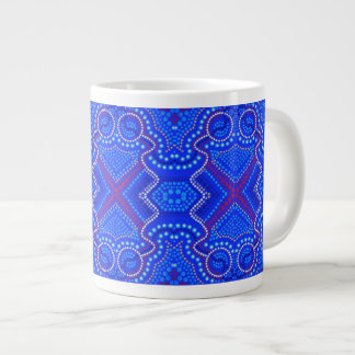 "Aboriginal Inspired ""Dot Art"" by Gina (Blue days) Large Coffee Mug"