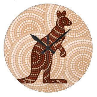 Aboriginal kangaroo dot painting clock