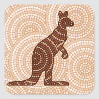 Aboriginal kangaroo dot painting square sticker