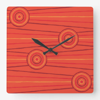 Aboriginal line and circle painting clocks