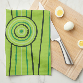 Aboriginal line and circle painting kitchen towel