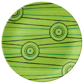 Aboriginal line and circle painting porcelain plate