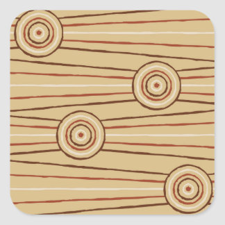 Aboriginal line and circle painting square sticker