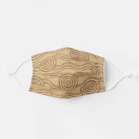 Aboriginal line painting river earth cloth face mask