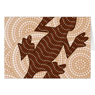 Aboriginal lizard dot painting card