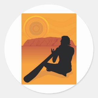 Aboriginal Silhouette Round Sticker